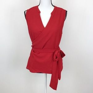 1.State Red Sleeveless Wrap Top Crepe Blouse